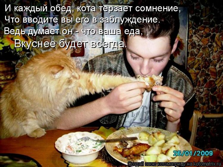 Котоматрица: И каждый обед, кота терзает сомнение, Что вводите вы его в заблуждение. Ведь думает он - что ваша еда, Вкуснее будет всегда.
