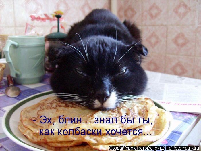 Котоматрица: - Эх, блин... знал бы ты,  как колбаски хочется...