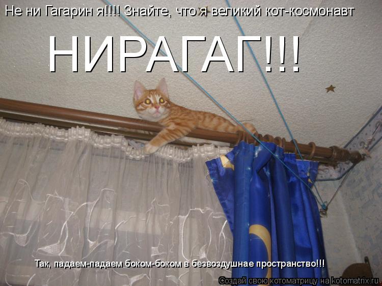 Котоматрица: Не ни Гагарин я!!!! Знайте, что я великий кот-космонавт  НИРАГАГ!!! Так, падаем-падаем боком-боком в безвоздушнае пространство!!!