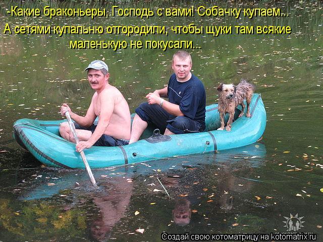 Котоматрица - -Какие браконьеры, Господь с вами! Собачку купаем... А сетями купальню