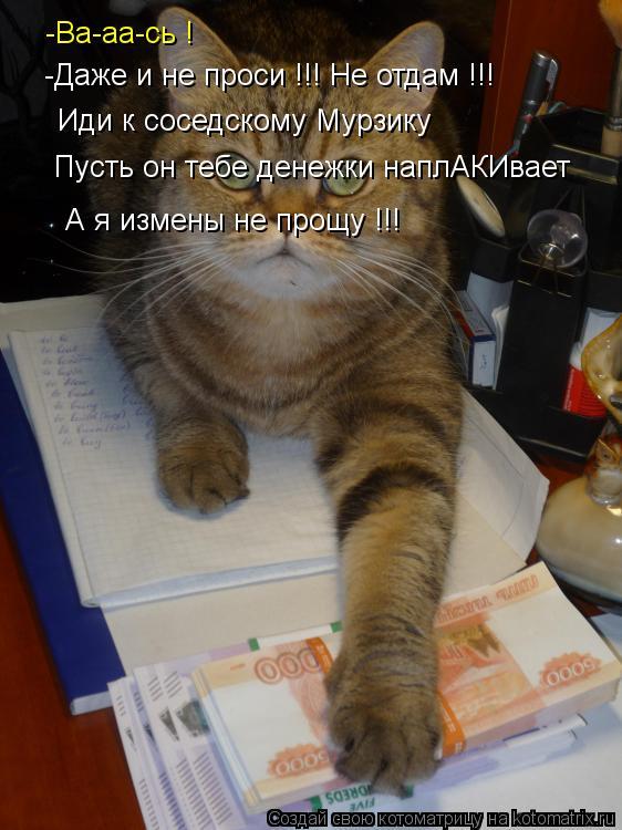 Котоматрица: -Ва-аа-сь ! -Даже и не проси !!! Не отдам !!! Иди к соседскому Мурзику  Пусть он тебе денежки наплАКИвает А я измены не прощу !!!