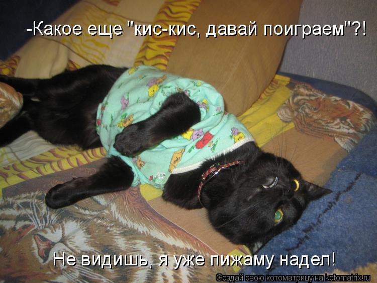 """Котоматрица: -Какое еще """"кис-кис, давай поиграем""""?! Не видишь, я уже пижаму надел!"""