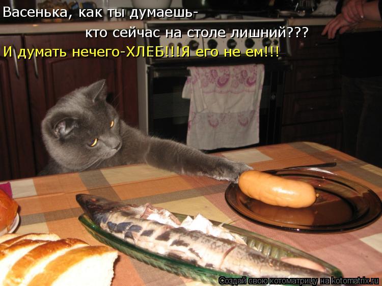 Котоматрица - Васенька, как ты думаешь- кто сейчас на столе лишний??? И думать нечег