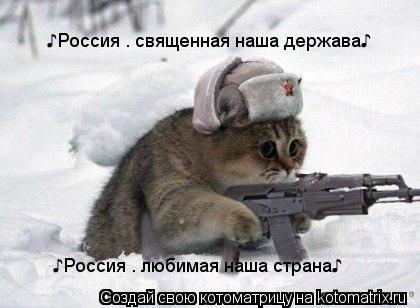 Котоматрица: ♪Россия — священная наша держава♪ ♪Россия — любимая наша страна♪