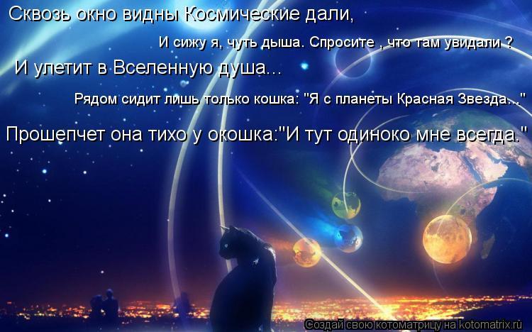 Котоматрица: Сквозь окно видны Космические дали, И сижу я, чуть дыша. Спросите , что там увидали ? И улетит в Вселенную душа... Рядом сидит лишь только кошка