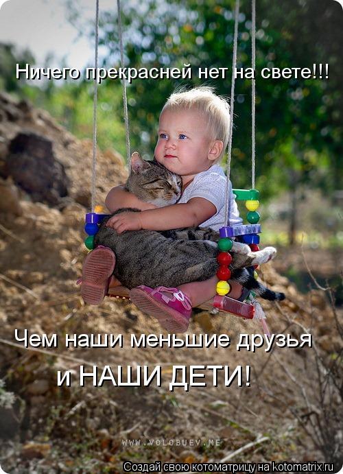 Котоматрица: Ничего прекрасней нет на свете!!! Чем наши меньшие друзья  и НАШИ ДЕТИ!