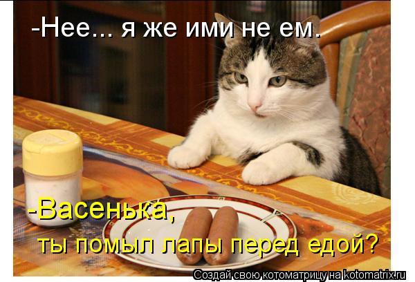 Котоматрица: -Васенька,  ты помыл лапы перед едой? -Нее... я же ими не ем.