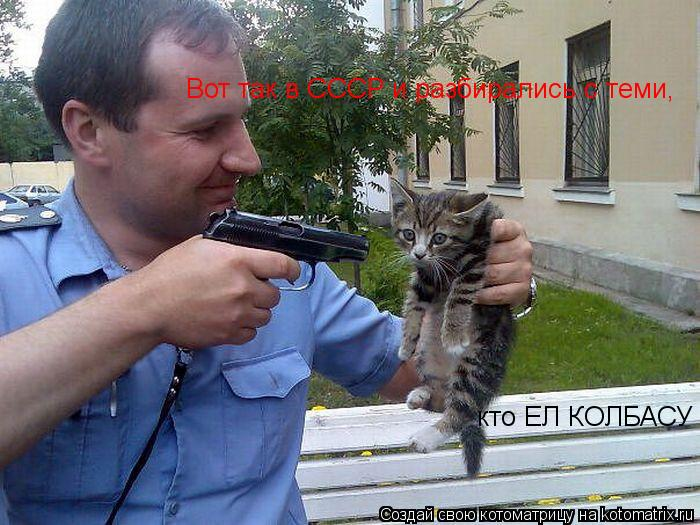Котоматрица: Вот так в СССР и разбирались с теми, кто ЕЛ КОЛБАСУ