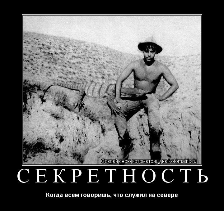 Котоматрица: секретность Когда всем говоришь, что служил на севере