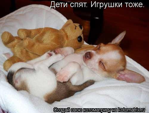 Котоматрица: Дети спят. Игрушки тоже.