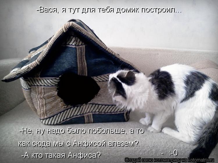 Котоматрица: -Вася, я тут для тебя домик построил... -Не, ну надо было побольше, а то как сюда мы с Анфисой влезем? -А кто такая Анфиса? -  :-0