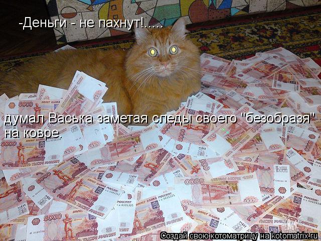 """Котоматрица: -Деньги - не пахнут!..... думал Васька заметая следы своего """"безобразя"""" на ковре."""