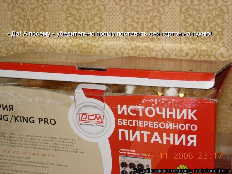 Котоматрица: - Да! А посему - убедительно прошу поставить сей картон на кухню!