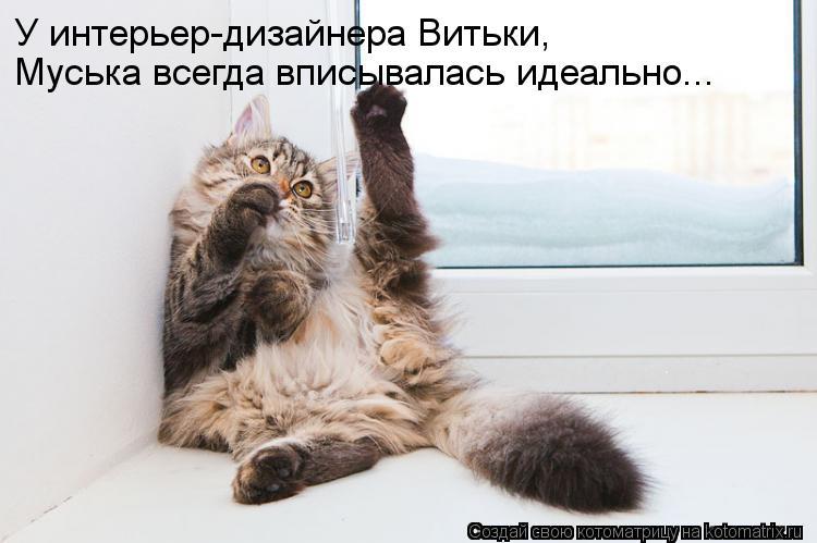 Котоматрица: У интерьер-дизайнера Витьки,  Муська всегда вписывалась идеально...