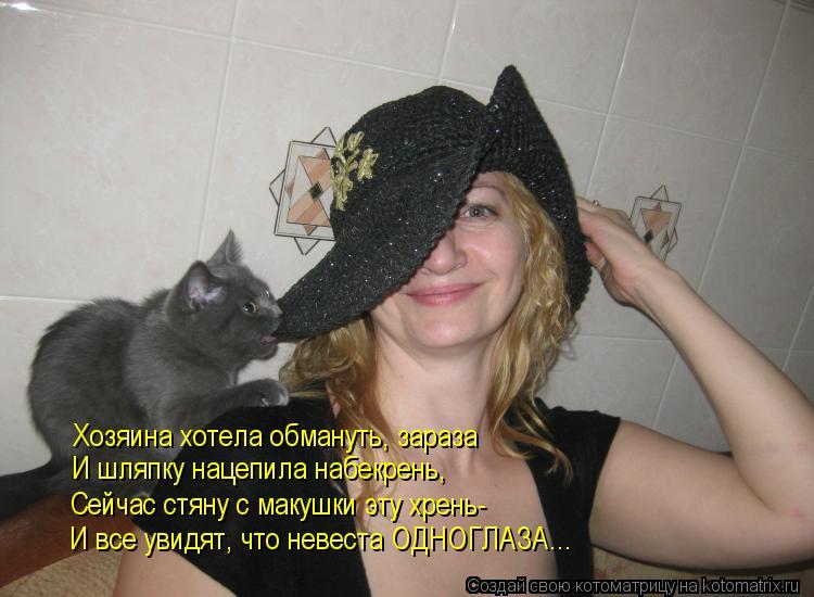 Котоматрица: Хозяина хотела обмануть, зараза И шляпку нацепила набекрень, Сейчас стяну с макушки эту хрень- И все увидят, что невеста ОДНОГЛАЗА...