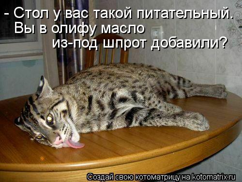Котоматрица: - Стол у вас такой питательный. Вы в олифу масло  из-под шпрот добавили?