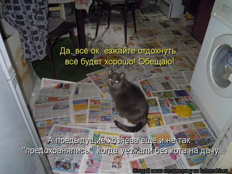 """Котоматрица: А предыдущие хозяева ещё и не так """"предохранялись"""", когда уезжали без кота на дачу... Да, всё ок, езжайте отдохнуть  всё будет хорошо! Обещаю!"""