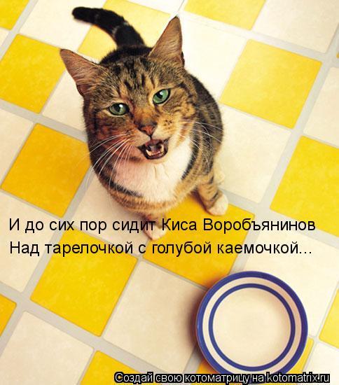 Котоматрица: И до сих пор сидит Киса Воробъянинов Над тарелочкой с голубой каемочкой...