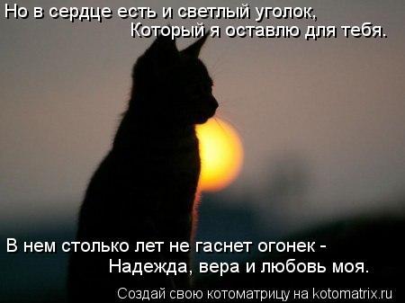 Котоматрица: Но в сердце есть и светлый уголок, Который я оставлю для тебя. В нем столько лет не гаснет огонек - Надежда, вера и любовь моя.