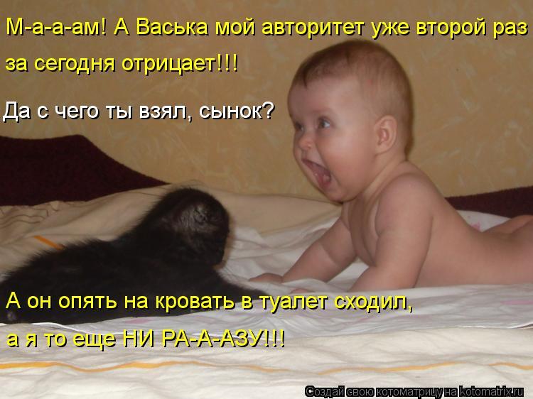 Котоматрица: М-а-а-ам! А Васька мой авторитет уже второй раз  за сегодня отрицает!!! Да с чего ты взял, сынок? А он опять на кровать в туалет сходил,  а я то ещ