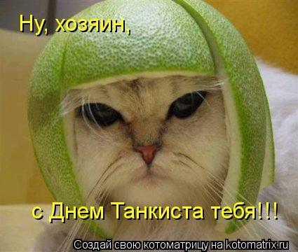 Котоматрица: Ну, хозяин,  с Днем Танкиста тебя!!!