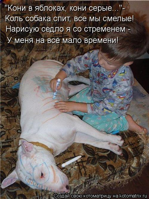 """Котоматрица: """"Кони в яблоках, кони серые...""""- Коль собака спит, все мы смелые! Нарисую седло я со стременем - У меня на всё мало времени!"""