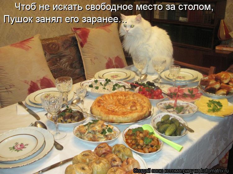 Котоматрица: Чтоб не искать свободное место за столом, Пушок занял его заранее...