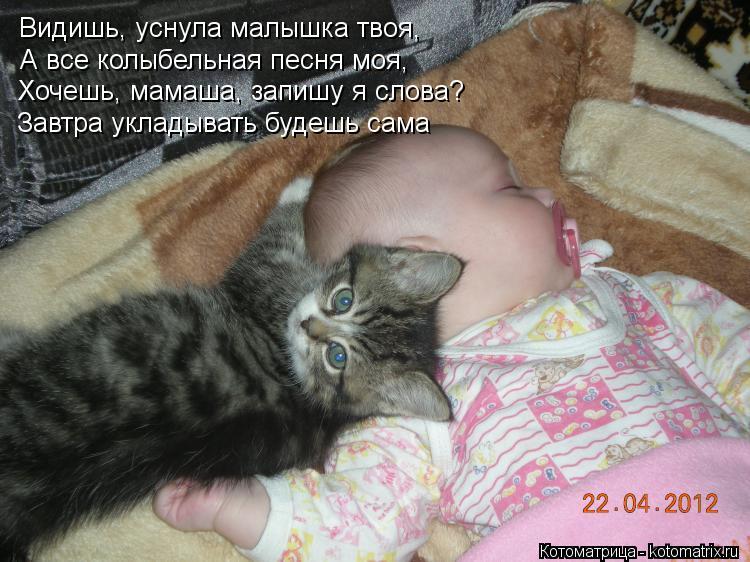 Котоматрица: Видишь, уснула малышка твоя, А все колыбельная песня моя, Хочешь, мамаша, запишу я слова? Завтра укладывать будешь сама