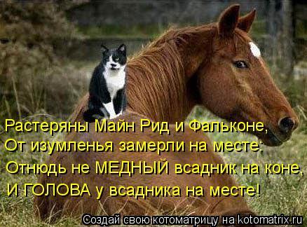Котоматрица: Растеряны Майн Рид и Фальконе, От изумленья замерли на месте: Отнюдь не МЕДНЫЙ всадник на коне, И ГОЛОВА у всадника на месте!