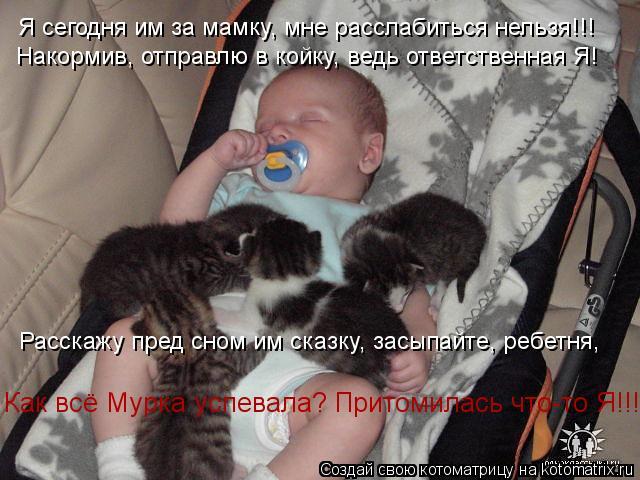 Котоматрица: Я сегодня им за мамку, мне расслабиться нельзя!!! Накормив, отправлю в койку, ведь ответственная Я! Расскажу пред сном им сказку, засыпайте, р