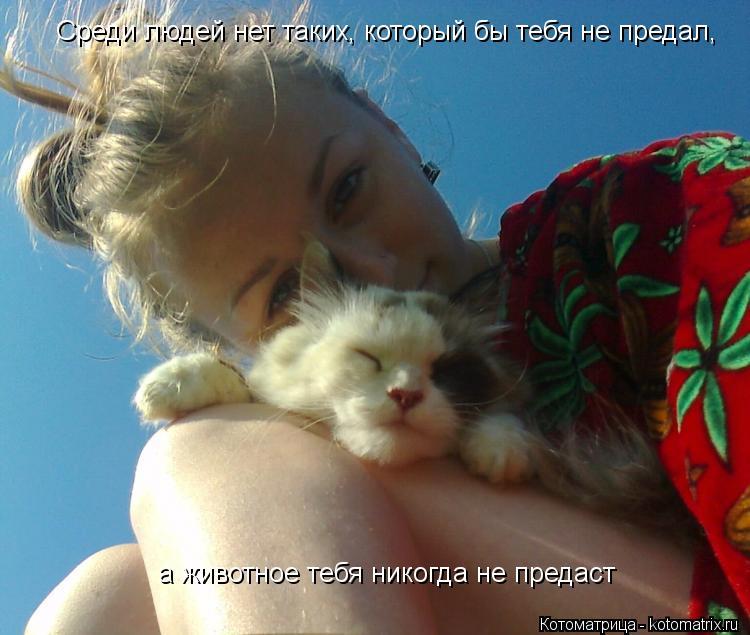 Котоматрица: Среди людей нет таких, который бы тебя не предал, а животное тебя никогда не предаст