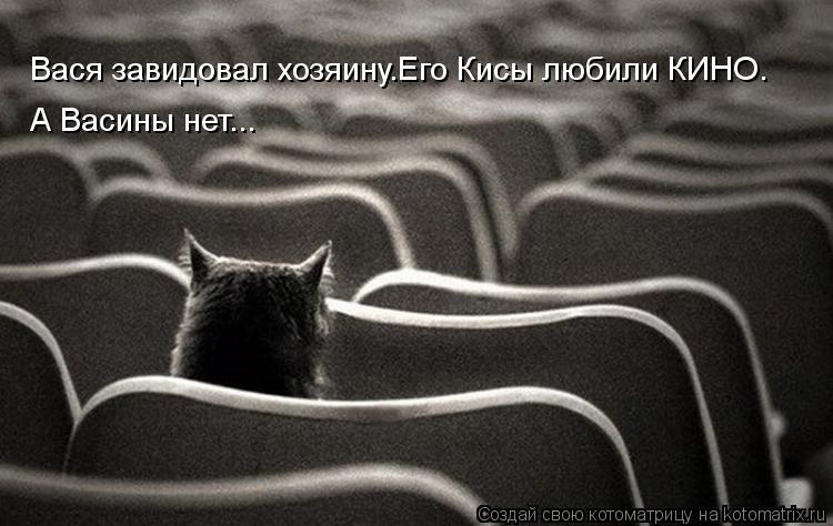 Котоматрица: Вася завидовал хозяину.Его Кисы любили КИНО. А Васины нет...