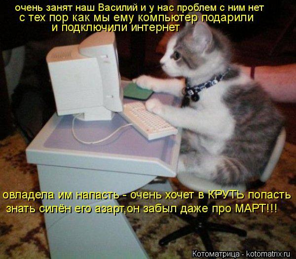Котоматрица: очень занят наш Василий и у нас проблем с ним нет с тех пор как мы ему компьютер подарили  и подключили интернет овладела им напасть - очень х