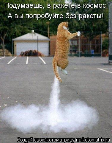 Котоматрица: Подумаешь, в ракете в космос. А вы попробуйте без ракеты!