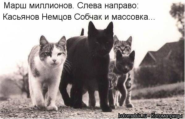 Котоматрица: Марш миллионов. Слева направо: Касьянов Немцов Собчак и массовка...