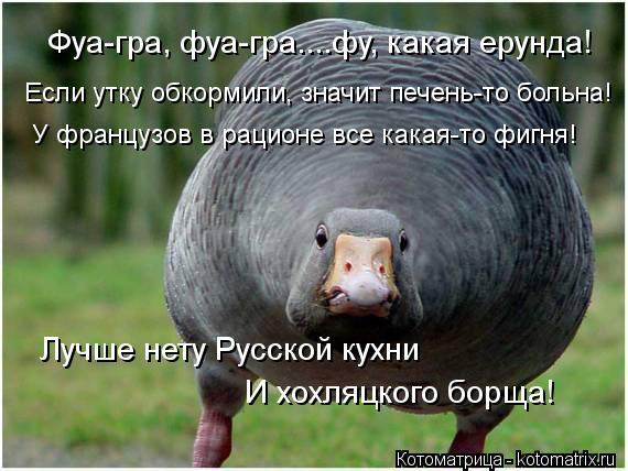 Котоматрица: Фуа-гра, фуа-гра....фу, какая ерунда! Если утку обкормили, значит печень-то больна! У французов в рационе все какая-то фигня! Лучше нету Русской
