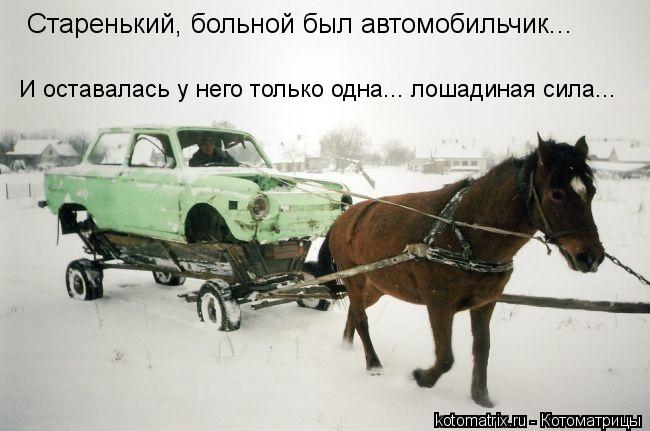 Котоматрица: Старенький, больной был автомобильчик... И оставалась у него только одна... лошадиная сила...