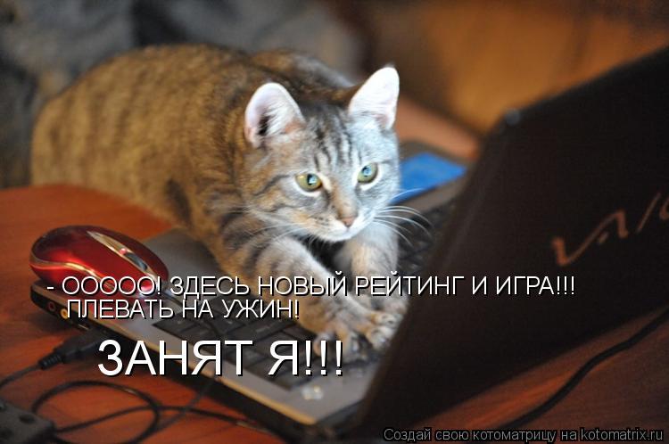 Котоматрица: - ООООО! ЗДЕСЬ НОВЫЙ РЕЙТИНГ И ИГРА!!! ПЛЕВАТЬ НА УЖИН! ЗАНЯТ Я!!!