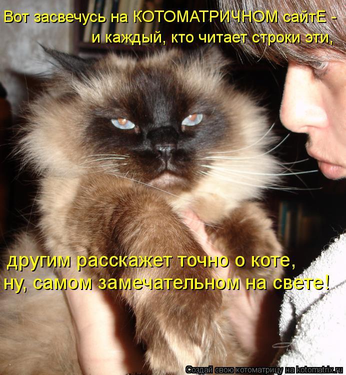 Котоматрица: Вот засвечусь на КОТОМАТРИЧНОМ сайтЕ - и каждый, кто читает строки эти,  другим расскажет точно о коте,  ну, самом замечательном на свете!