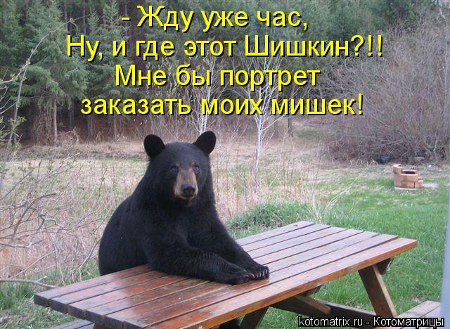 Котоматрица: - Жду уже час, Ну, и где этот Шишкин?!! Мне бы портрет заказать моих мишек!
