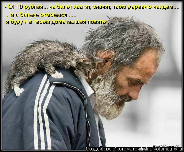 Котоматрица: - О! 10 рублей... на билет хватит, значит, твою деревню найдем.... .. и в баньке отмоемся ..... и буду я в твоем доме мышей ловить....