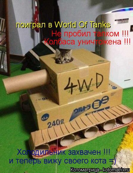 Котоматрица: поиграл в World Of Tanks  и теперь вижу своего кота =) Не пробил тапком !!! Колбаса уничтожена !!! Холодильник захвачен !!!