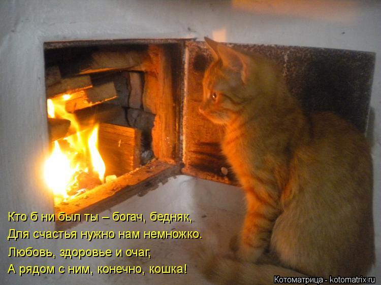 Котоматрица: Кто б ни был ты – богач, бедняк, Для счастья нужно нам немножко. Любовь, здоровье и очаг, А рядом с ним, конечно, кошка!
