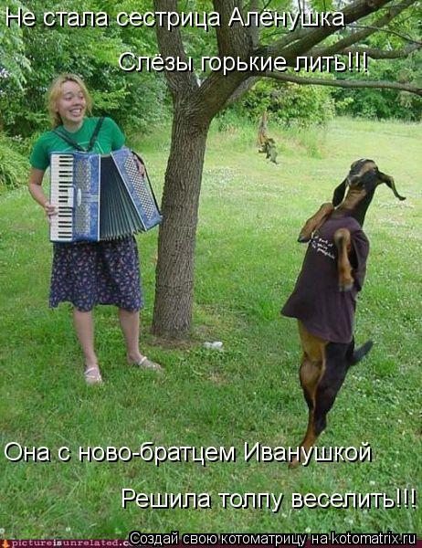 Котоматрица: Не стала сестрица Алёнушка Слёзы горькие лить!!! Она с ново-братцем Иванушкой Решила толпу веселить!!!