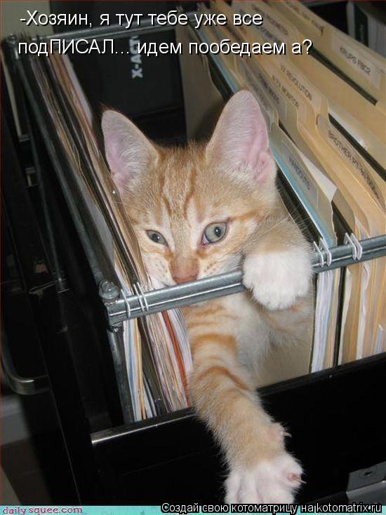Котоматрица: -Хозяин, я тут тебе уже все  подПИСАЛ... идем пообедаем а?