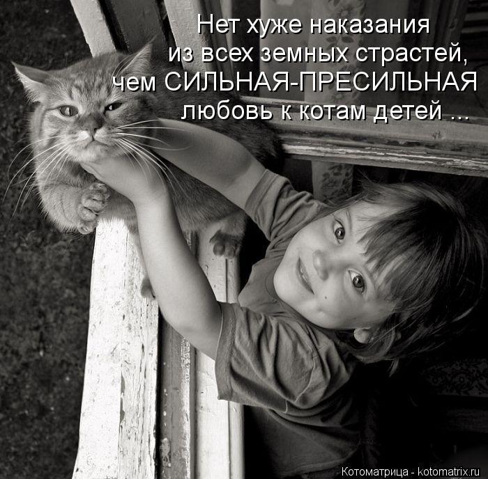 Котоматрица: Нет хуже наказания из всех земных страстей, чем СИЛЬНАЯ-ПРЕСИЛЬНАЯ любовь к котам детей ...