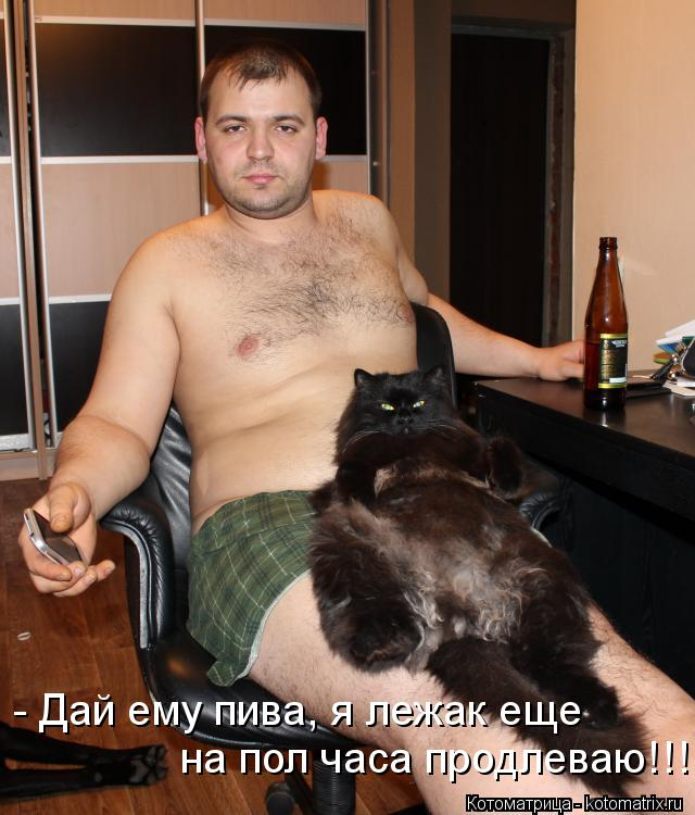 Котоматрица: - Дай ему пива, я лежак еще на пол часа продлеваю!!!