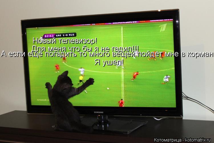 Котоматрица: Новый телевизор! Для меня что бы я не гадил!!! А если ещё погадить то много вещей пойдёт мне в корман Я ушёл!