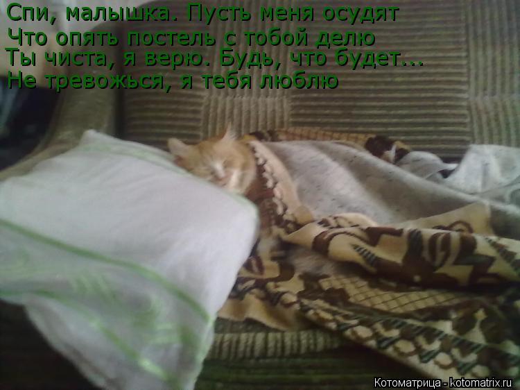 Котоматрица: Спи, малышка. Пусть меня осудят Что опять постель с тобой делю Ты чиста, я верю. Будь, что будет... Не тревожься, я тебя люблю