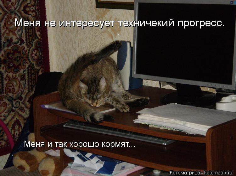 Котоматрица: Меня не интересует техничекий прогресс. Меня и так хорошо кормят...